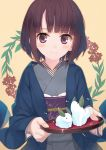 1girl amamiya_chiharu bangs blue_kimono blush brown_hair closed_mouth commentary_request eyebrows_visible_through_hair fingernails grey_kimono holding holding_tray japanese_clothes kimono leaf long_sleeves looking_at_viewer obi original sash short_hair smile snow_bunny solo tray violet_eyes wide_sleeves yellow_background