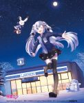 1girl 2018 :d artist_name blue_eyes blue_hair character_name convenience_store dutch_angle floating_hair full_body full_moon hair_ornament hairclip hatsune_miku lawson long_hair maou_(mischief2004) moon night one_eye_closed open_mouth outdoors outstretched_arms pleated pleated_skirt rabbit scarf shop skirt sky smile snow snowman spread_arms star_(sky) starry_sky striped striped_legwear thigh-highs tree twintails uniform vertical-striped_legwear vertical_stripes very_long_hair vocaloid yuki_miku yukine_(vocaloid)
