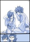 1girl 3boys barefoot bath_yukata black_border blush border comic drunk erza_scarlet eyebrow_piercing fairy_tail flying_sweatdrops gajeel_redfox gray_fullbuster hair_over_one_eye japanese_clothes jellal_fernandes kimono long_hair mashima_hiro monochrome multiple_boys nose_piercing petting piercing shaded_face silent_comic smile yukata