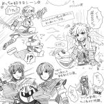 fire_emblem fire_emblem:_monshou_no_nazo fire_emblem:_souen_no_kiseki ike kid_icarus kirby_(series) marth meta_knight monochrome pit_(kid_icarus) ragnell sayoyonsayoyo short_hair smile super_smash_bros. sword tiara translation_request weapon