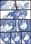 1girl 3boys bath_yukata blush comic drunk erza_scarlet facial_mark fairy_tail gajeel_redfox gray_fullbuster hair_over_one_eye japanese_clothes jellal_fernandes kimono long_hair looking_away looking_back mashima_hiro monochrome multiple_boys sharp_teeth silent_comic smile spinning sweat teeth yukata