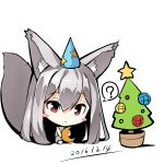 1girl ? animal_ears bangs bare_shoulders blush_stickers chibi christmas_ornaments christmas_tree closed_mouth crescent dated dress eyebrows_visible_through_hair fox_ears fox_girl fox_tail grey_dress hair_between_eyes hat head_tilt long_hair looking_at_viewer original party_hat red_eyes silver_hair simple_background sitting sleeveless sleeveless_dress solo spoken_question_mark star tail very_long_hair white_background yuuji_(yukimimi)