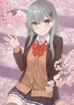 1girl aqua_eyes aqua_hair ascot blush cardigan cherry_blossoms hair_ornament hairclip jacket kantai_collection long_hair looking_at_viewer nananichi open_cardigan open_clothes pleated_skirt school_uniform sitting sitting_on_stairs skirt smile solo stairs suzuya_(kantai_collection) waving
