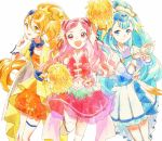 3girls :d arm_up blonde_hair blue_eyes blue_hair blue_hat cowboy_shot cure_ange cure_etoile cure_yell double_bun dress earrings flower garrison_cap hair_flower hair_ornament hair_ribbon hat heart_hair_ornament highres holding hugtto!_precure humming1213 jewelry kagayaki_homare layered_skirt long_hair looking_at_viewer magical_girl multiple_girls nono_hana open_mouth orange_dress pink_eyes pink_hair pleated_skirt pom_poms ponytail precure red_ribbon red_shirt red_skirt ribbon scarf shirt simple_background skirt sleeveless sleeveless_shirt smile standing standing_on_one_leg star star_hair_ornament thigh-highs white_background white_dress white_legwear wrist_cuffs yakushiji_saaya yellow_eyes zettai_ryouiki