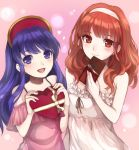 1girl 2girls blue_eyes blue_hair blush camisole celica_(fire_emblem) chocolate dress fire_emblem fire_emblem:_fuuin_no_tsurugi fire_emblem_echoes:_mou_hitori_no_eiyuuou hat lilina long_hair multiple_girls red_eyes redhead simple_background smile