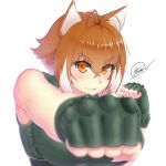 absurdres animal_ears antenna_hair blazblue blurry blush breasts brown_hair clenched_hands depth_of_field fingerless_gloves gloves highres large_breasts looking_at_viewer makoto_nanaya multicolored_hair orange_eyes punching shirt smile squirrel_ears taut_clothes taut_shirt thore_(nathalukpol) two-tone_hair upper_body white_background