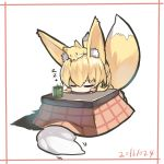 2girls animal animal_ears animal_on_head bangs blonde_hair blush_stickers chibi closed_eyes closed_mouth cup dated eyebrows_visible_through_hair fox fox_ears fox_girl fox_on_head fox_tail green_tea hair_between_eyes head_rest kotatsu multiple_girls on_head original solo_focus table tail tea under_kotatsu under_table white_background yunomi yuuji_(yukimimi) zzz