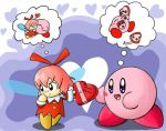 1boy 1girl artist_request blue_eyes blush chocolate fairy heart hoshi_no_kirby hoshi_no_kirby_64 kirby kirby_(series) kiss pink_hair pink_puff_ball ribbon ribbon_(kirby) valentine