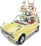6+girls animal_ears black_eyes black_gloves black_hair black_neckwear blue_eyes blush bow bowtie breasts brown_hair car caracal_(kemono_friends) caracal_ears caracal_tail common_raccoon_(kemono_friends) driving elbow_gloves eyebrows_visible_through_hair fennec_(kemono_friends) gloves green_hair grey_hair ground_vehicle highres kaban_(kemono_friends) kemono_friends license_plate long_hair looking_away medium_breasts mirai_(kemono_friends) motor_vehicle multicolored_hair multiple_girls open_mouth rear-view_mirror semi-rimless_eyewear serval_(kemono_friends) serval_ears short_hair short_sleeves smile sweeter_(h110111) two-tone_hair white_gloves