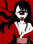 1girl :p bangs breasts commentary_request cyclops japanese_clothes kimono long_hair long_sleeves looking_at_viewer medium_breasts monochrome obi off_shoulder one-eyed original red red_background sash shake-o simple_background single_bare_shoulder smile solo tongue tongue_out upper_body