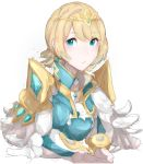 1girl absurdres blonde_hair blue_eyes blue_hair crown earrings feather_trim fire_emblem fire_emblem_heroes fjorm_(fire_emblem_heroes) gradient_hair highres jackii jewelry looking_at_viewer multicolored_hair short_hair simple_background solo