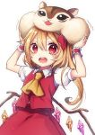 >:o 1girl arms_up ascot blonde_hair blush crystal flandre_scarlet highres kyouda_suzuka long_hair looking_at_viewer red_eyes side_ponytail simple_background squirrel stuffed_squirrel teeth touhou translation_request white_background wings wrist_cuffs