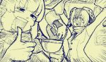 2girls :d animal_ears arms_up bird_wings buttons campo_flicker_(kemono_friends) cup emphasis_lines eyebrows eyebrows_visible_through_hair feathered_wings feathers giraffe_ears giraffe_print glasses head_wings holding holding_cup kemono_friends kouson_q long_sleeves monochrome multiple_girls open_mouth reticulated_giraffe_(kemono_friends) scarf short_hair smile tea teacup teeth thumbs_up towel v-shaped_eyebrows wings