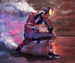 1boy arm_on_knee armor belt black_bodysuit bodysuit boots commentary_request from_behind full_body glowing glowing_eyes helmet highres inui_takumi kamen_rider kamen_rider_555 kamen_rider_faiz kikimifukuri male_focus pauldrons power_armor science_fiction solo squatting steam tokusatsu