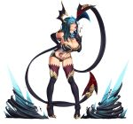 1girl absurdres bare_shoulders black_gloves black_legwear blood blue_eyes blue_hair boots breasts cleavage demon_girl demon_tail demon_wings elbow_gloves evelynn gloves hand_on_hip high_heels highres horns large_breasts league_of_legends lips looking_at_viewer midriff naughty_face navel nikita_varb simple_background smile solo spikes tail tattoo thigh-highs thigh_boots tongue very_long_tail white_background wings