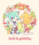 1boy 1girl amitie_(puyopuyo) ana_(rznuscrf) animal animal_ears bag bangs bell between_legs blonde_hair blue_eyes blue_hair blue_shirt blue_shorts blush_stickers bow butterfly cat_ears cat_girl cat_tail catboy character_name closed_eyes flower hair_between_eyes hand_between_legs hood hood_down hoodie ladybug messenger_bag mushroom one_eye_closed pink_bow pink_hoodie pink_shorts polka_dot polka_dot_bow profile puyopuyo puyopuyo_fever red_bow shirt short_hair shorts shoulder_bag sig_(puyopuyo) sitting sleeveless sleeveless_hoodie tail tail_bow tail_flower white_flower