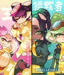 +_+ 4girls :| ankle_boots aori_(splatoon) arm_support bangs black_hair black_pants black_skin blunt_bangs boots brown_eyes chin_rest clenched_hand closed_mouth commentary crown domino_mask ear_clip english english_commentary food food_on_head goggles goggles_on_head gradient gradient_background gradient_hair green_eyes green_hair green_nails hime_(splatoon) hotaru_(splatoon) iida_(splatoon) invisible_chair jacket light_smile long_hair long_sleeves looking_at_viewer mask medium_hair mole mole_under_eye mole_under_mouth multicolored_hair multiple_girls nail_polish object_on_head octarian open_mouth pants pantyhose parted_lips pink_hair pointy_ears short_hair sitting smirk splatoon splatoon_2 squidbeak_splatoon standing sushi symbol-shaped_pupils tentacle_hair translation_request wong_ying_chee yellow_coat yellow_footwear yellow_jacket