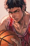 1boy bare_shoulders basketball basketball_uniform black_hair brown_eyes fingernails hankuri holding male_focus mitsui_hisashi parted_lips pink_background sanpaku shirt simple_background slam_dunk sleeveless sleeveless_shirt solo sportswear sweat