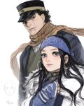 1girl ainu ainu_clothes asirpa bandanna black_hair blue_eyes cape checkered checkered_scarf child earrings facial_scar fur_cape gauntlets golden_kamuy hat highres hoop_earrings ichimatsu_(odoro_lol) jewelry long_hair military_hat nose_scar peaked_cap scar scar_on_cheek scarf shiraishi_yoshitake short_hair sugimoto_saichi yellow_eyes