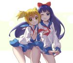 2girls :3 bare_shoulders blonde_hair blue_eyes blue_hair blue_sailor_collar blue_skirt breasts chunrijun_(springer) closed_mouth commentary_request hair_ornament hair_scrunchie hand_gesture highres holding_another's_arm interlocked_fingers leaning_forward long_hair long_sleeves looking_at_viewer miniskirt multiple_girls neckerchief one_eye_closed panties pipimi poptepipic popuko red_neckwear sailor_collar scrunchie shirt short_hair simple_background skirt skirt_lift small_breasts standing stretch two_side_up underwear very_long_hair white_panties white_shirt wind wind_lift yellow_scrunchie