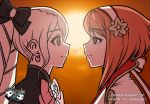 2girls animated animated_gif artist_name backlighting bangs black_bow blinking blonde_hair bow bowtie brown_eyes closed_eyes closed_mouth earrings elise_(fire_emblem_if) eye_contact eyebrows_visible_through_hair facing_another fire_emblem fire_emblem_if french_kiss from_side hair_bow hairband jadenkaiba jewelry kiss long_hair looking_at_another multiple_girls nail_polish open_mouth pink_bow pink_nails profile redhead round_teeth sakura_(fire_emblem_if) short_hair sun sunlight sunset teeth twintails upper_body violet_eyes watermark web_address white_hairband yuri