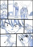 1boy 1girl bath_yukata black_border border comic covering_face embarrassed fairy_tail flying_teardrops hand_tattoo japanese_clothes kimono long_hair looking_back lucy_heartfilia mashima_hiro monochrome natsu_dragneel paintbrush silent_comic spiky_hair squatting tapping tears twintails wooden_floor yukata
