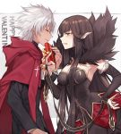 1boy 1girl absurdly_long_hair amakusa_shirou_(fate) bare_shoulders black_dress black_hair blush box breasts bridal_gauntlets cape chocolate commentary_request cross dark_skin detached_sleeves dress fate/apocrypha fate/grand_order fate_(series) fur_trim gift gift_box highres holding holding_gift large_breasts long_dress long_hair looking_at_another pointy_ears ribbon semiramis_(fate) spikes valentine very_long_hair white_hair wowishi yellow_eyes