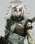1boy armor blue_eyes copyright_request grey_background hair_between_eyes hankuri holding long_hair long_sleeves looking_at_viewer simple_background solo upper_body white_hair