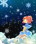 +_+ 1girl :d ana_(rznuscrf) arle_nadja blue_capelet blue_dress blue_footwear blush boots brown_eyes brown_hair carbuncle_(puyopuyo) dress fur-trimmed_boots fur-trimmed_capelet fur-trimmed_dress fur_trim hair_ornament hair_scrunchie high_ponytail knee_boots looking_up madou_monogatari night night_sky open_mouth outdoors ponytail puyopuyo rabbit rock scrunchie sitting sky smile snow snowflakes snowing tree upper_teeth white_scrunchie