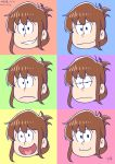 1girl :d annoyed bangs brown_hair closed_mouth dated expressions gurande_(g-size) heart heart_in_mouth highres inazuma_(kantai_collection) kantai_collection looking_at_viewer multicolored multicolored_background open_mouth osomatsu-san signature smile