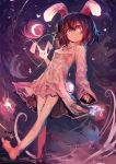 1girl absurdres animal_ears bangs barefoot black_hair dress dutch_angle hair_between_eyes heart highres inaba_tewi kaamin_(mariarose753) legs looking_at_viewer moon night pink_dress pink_eyes rabbit rabbit_ears short_hair solo star touhou walking
