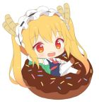 1girl :d bangs blonde_hair blue_dress blush brown_footwear chibi commentary donut doughnut dragon_horns dress elbow_gloves english_commentary eyebrows_visible_through_hair food gloves hairband hitsukuya horns in_food kobayashi-san_chi_no_maidragon looking_at_viewer maid maid_headdress necktie open_mouth pantyhose puffy_short_sleeves puffy_sleeves red_eyes red_neckwear round_teeth shoes short_sleeves simple_background sitting slit_pupils smile solo teeth tooru_(maidragon) twintails white_background white_gloves white_legwear wing_collar
