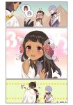 1girl 2boys black_hair blush brown_hair cape closed_eyes comic commentary_request dark_skin earrings egypt egyptian egyptian_clothes fate/prototype fate/prototype:_fragments_of_blue_and_silver fate_(series) flower hair_flower hair_ornament heart hug jewelry moses_(fate/prototype_fragments) multiple_boys nefertiti_(fate/prototype_fragments) omi_(tyx77pb_r2) open_eyes open_mouth ozymandias_(fate) pink_eyes pink_flower pyramid silver_hair smile twitter_username white_cape