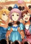 3girls :o ;d ;p absurdres ahoge animal_ears blonde_hair bow brown_eyes brown_hair cellphone crescent disney fake_animal_ears girl_sandwich hair_ornament hairband hairclip hat highres holding holding_hair_ornament ibuki_tsubasa idolmaster idolmaster_million_live! kasuga_mirai madogiwa_(ran5) makabe_mizuki mickey_mouse_ears minnie_mouse_ears multiple_girls one_eye_closed one_side_up open_mouth phone pink_eyes polka_dot polka_dot_bow print_hat purple_hair sandwiched self_shot short_hair smartphone smile star star_print tongue tongue_out wizard_hat yellow_eyes