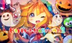 1girl ;d ana_(rznuscrf) bangs bat blonde_hair blue_eyes blue_hat blush blush_stickers closed_eyes ghost hair_between_eyes happy_halloween hat indoors jack-o'-lantern lace_border long_hair looking_at_viewer one_eye_closed open_mouth outstretched_arm potion puyopuyo smile solo star star_in_eye very_long_hair window witch_(puyopuyo)