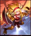 1girl 2017 artist_name bangs bare_shoulders belt belt_buckle belt_collar black_border black_shorts blonde_hair blue_fire blurry blush border breasts buckle character_request claw_(weapon) claws collarbone dated depth_of_field dual_wielding duel_masters eyebrows eyebrows_visible_through_hair eyelashes facing_away fire hair_between_eyes headband legs_apart long_hair looking_away medium_breasts monster_girl navel o-ring open_mouth pink_eyes pointy_ears red_belt red_collar red_headband scales shorts single_strap solo stomach strapless tail tassel text tsurime tubetop v-shaped_eyebrows weapon yoshizaki_mine
