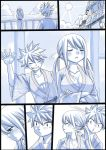 1boy 1girl alternate_hairstyle bath_yukata bathhouse black_border blush border breasts cleavage comic crossed_arms fairy_tail grin japanese_clothes kimono lucy_heartfilia mashima_hiro monochrome natsu_dragneel pout silent_comic smile spiky_hair sun trembling twintails waving yukata