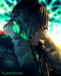 1boy blue_eyes blurry blurry_background cyberpunk fisheye_placebo frey_(fisheye_placebo) fur_trim headphones highres hooded_coat profile silver_hair solo watermark web_address wenqing_yan