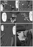 6+girls american_beaver_(kemono_friends) black-tailed_prairie_dog_(kemono_friends) brown_bear_(kemono_friends) carrying character_request comic drinking godzilla godzilla_(series) greyscale highres jungle_crow_(kemono_friends) kemono_friends kishida_shiki monochrome multiple_girls personification piggyback shin_godzilla smilodon_(kemono_friends) tentacle translation_request