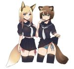 2girls animal_ears bangs black_sailor_collar black_serafuku blonde_hair blue_eyes blue_panties braid breasts brown_hair cowboy_shot drawstring eyebrows_visible_through_hair finger_to_mouth fox_ears fox_tail green_eyes green_nails hand_on_own_chest large_breasts lifted_by_self long_hair looking_at_viewer medium_breasts midriff miniskirt multiple_girls nail_polish neckerchief nezuko original panties puffy_short_sleeves puffy_sleeves raccoon_ears raccoon_tail red_nails red_panties sailor_collar school_uniform serafuku short_sleeves side-tie_panties simple_background single_braid skindentation skirt skirt_lift string_panties striped tail thigh-highs underwear vertical-striped_panties vertical_stripes white_background zettai_ryouiki