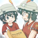2girls booklet bucket_hat commentary_request fang feathers gaketsu hat japari_symbol kaban_(kemono_friends) kemono_friends mechanization multiple_girls open_mouth reading shirt short_hair short_sleeves t-shirt