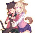 2girls :d ahoge akamatsu_kaede animal_ears bangs black_sailor_collar blonde_hair blush brown_hair cat_ears cat_tail cowboy_shot danganronpa dog_ears dog_tail eyebrows_visible_through_hair green_skirt hair_ornament hair_scrunchie harukawa_maki imminent_hug kemonomimi_mode long_hair long_sleeves miniskirt motion_lines multiple_girls musical_note musical_note_hair_ornament musical_note_print new_danganronpa_v3 nose_blush open_mouth outline plaid plaid_skirt playing_with_own_hair pleated_skirt print_skirt purple_skirt red_eyes sailor_collar school_uniform scrunchie serafuku shirt simple_background skirt smile standing surprised sweat sweater_vest swept_bangs tail tail_wagging tareme v-shaped_eyebrows very_long_hair violet_eyes white_background white_shirt yuraiko