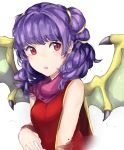 1girl blush cape dragon_girl dragon_wings fire_emblem fire_emblem:_seima_no_kouseki fire_emblem_heroes highres jackii long_hair mamkute myrrh open_mouth purple_hair red_eyes short_hair solo twintails wings