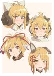 4girls anchira_(granblue_fantasy) anila_(granblue_fantasy) animal_ears blonde_hair bow brown_eyes dog_ears doraf erun_(granblue_fantasy) face granblue_fantasy hair_bow hair_ribbon hinami_(hinatamizu) horns makira_(granblue_fantasy) multiple_girls ribbon sheep_horns short_hair vajra_(granblue_fantasy)