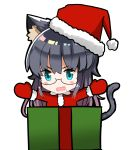1girl :d absurdres animal_ears aqua_eyes bangs blush_stickers box cat_ears cat_girl cat_tail chibi eyebrows_visible_through_hair fang fur-trimmed_hat fur-trimmed_sleeves fur_trim gift gift_box hair_between_eyes hat highres hiroki_(hirokiart) in_box in_container long_hair looking_at_viewer mittens open_mouth original outstretched_arms red_hat red_mittens red_shirt santa_costume santa_hat shirt simple_background smile solo spread_arms tail v-shaped_eyebrows very_long_hair white_background