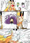 4girls abigail_williams_(fate/grand_order) akiyama_yuuji_(naruko-tei) comic commentary_request fate/grand_order fate_(series) gameplay_mechanics ibaraki_douji_(fate/grand_order) multiple_girls nursery_rhyme_(fate/extra) paul_bunyan_(fate/grand_order) snow snowball snowball_fight tentacle translation_request white_background