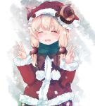 1girl blonde_hair blush button_eyes capelet christmas green_scarf hair_ornament hat highres horns low_twintails messy_hair momiji_manjuu_(usagiblackmore) original santa_hat scarf sheep_girl sheep_horns short_hair snow solo thick_eyebrows twintails white_background winter winter_clothes