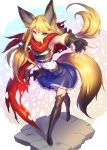 >:) 1girl animal_ears armpits bangs belt black_belt black_gloves black_legwear blonde_hair blue_eyes blue_skirt breastplate center_frills closed_mouth commentary_request copyright_request eyebrows_visible_through_hair facial_mark fingerless_gloves fingernails fox_ears fox_girl fox_tail frills full_body gloves hair_between_eyes hand_on_hilt highres long_hair low_twintails outstretched_arm red_scarf scarf shennai_misha shirt skirt sleeveless sleeveless_shirt smile solo standing sword tail thigh-highs twintails v-shaped_eyebrows very_long_hair weapon white_shirt