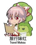 1girl bow chibi chinese commentary_request eyebrows_visible_through_hair frog fujiwara_no_mokou green_hat hair_bow hat holding holding_paper lowres paper red_eyes shangguan_feiying shirt simple_background suspenders touhou translation_request v-shaped_eyebrows white_background white_bow white_hair white_shirt