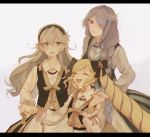 3girls blonde_hair camilla_(fire_emblem_if) closed_eyes dress drill_hair elise_(fire_emblem_if) european_clothes female_my_unit_(fire_emblem_if) fire_emblem fire_emblem_if flower hair_flower hair_ornament hair_over_one_eye highres long_hair looking_at_viewer multiple_girls my_unit_(fire_emblem_if) pointy_ears red_eyes simple_background smile twin_drills violet_eyes